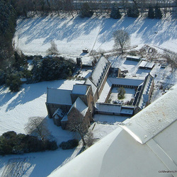 Pluscarden Abbey in snow - aerial
