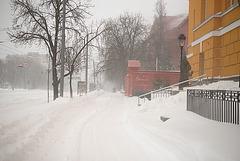 der Schneeschauer in Kiew am 23. März 2013