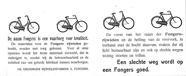 Advertisement for Fongers bicycles