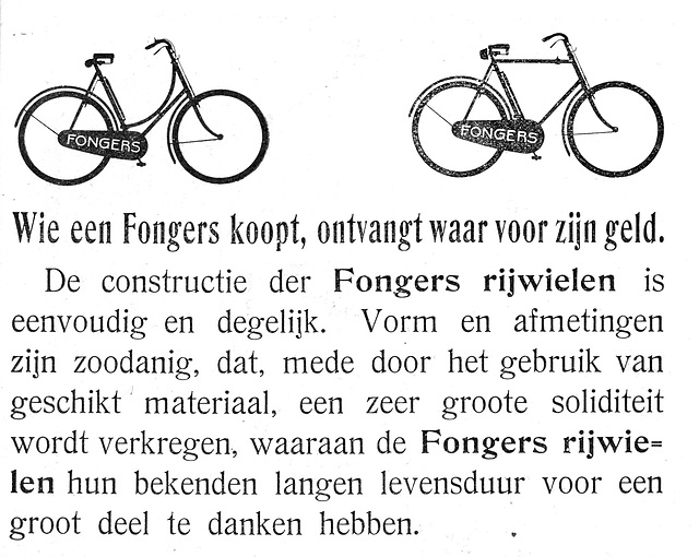 Advertisements for Fongers bicycles
