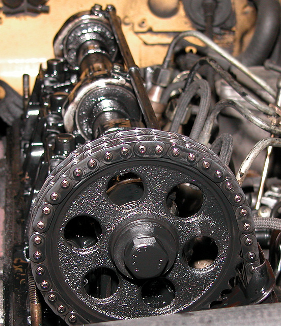 Timing chains and camshaft of a Mercedes-Benz 240TD