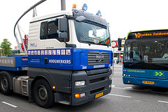 Meeting of truck and bus
