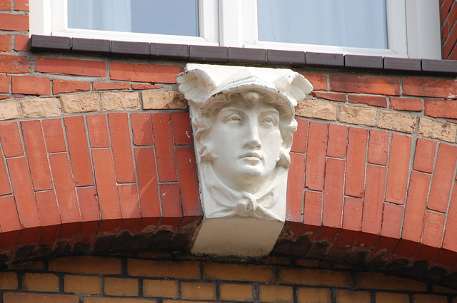 Hermes on a building in The Hague