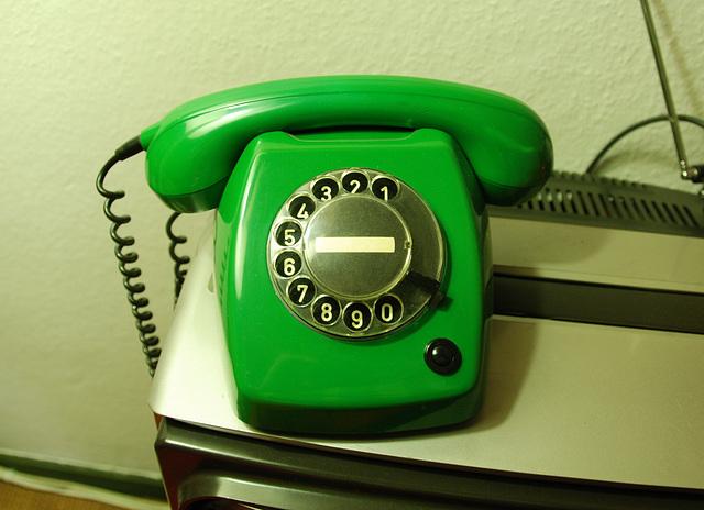 Standard Dutch telephone in green
