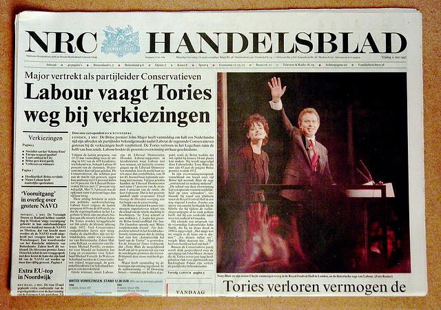 Recent history in newspaper: May 2, 1997 Tony Blair becomes PM after a Labour landslide