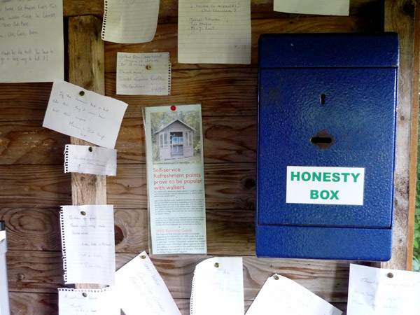Honesty box and thank-you messages