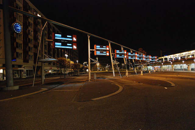The Leiden bus station by night