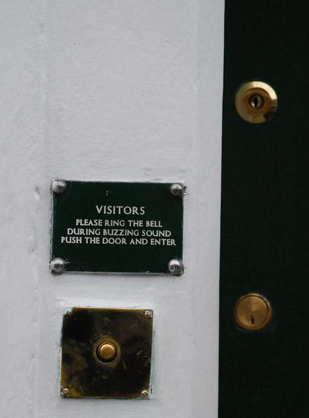 During buzzing sound push the door