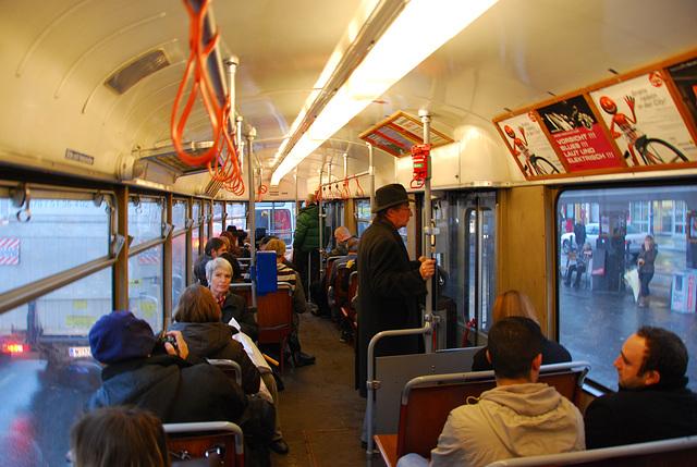 Inside a Viennese tram