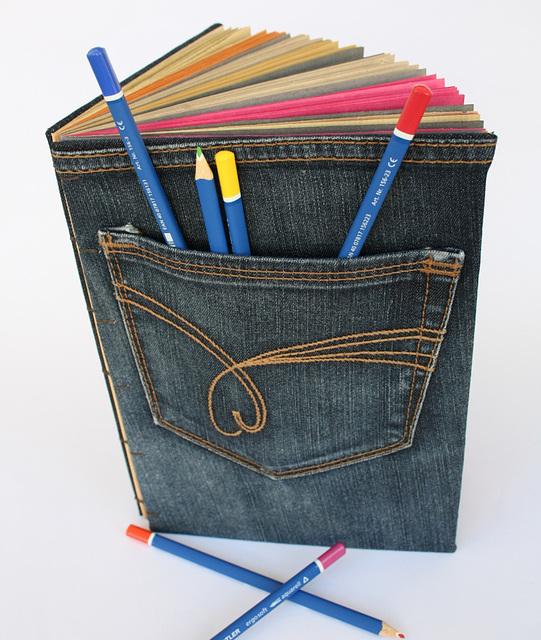 Recycled Jeans Book with Stylized Heart on the Pocket