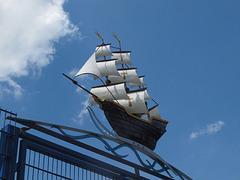 Sailing through a blue sky