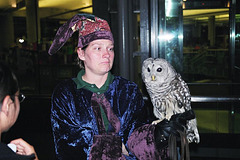 Owlery worker and owl