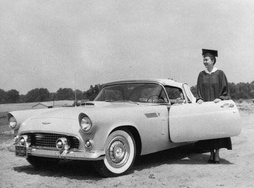 1956 T-Bird on Graduation Day