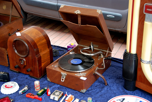 Old record players at market today