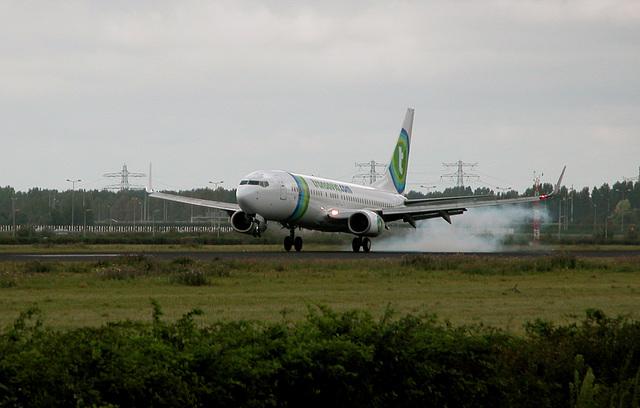 Landing Transavia-Boeing 737 at Schiphol