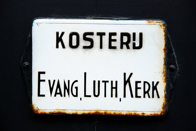 Enamel signs: Verger's house of the Evangelical Lutheran Church