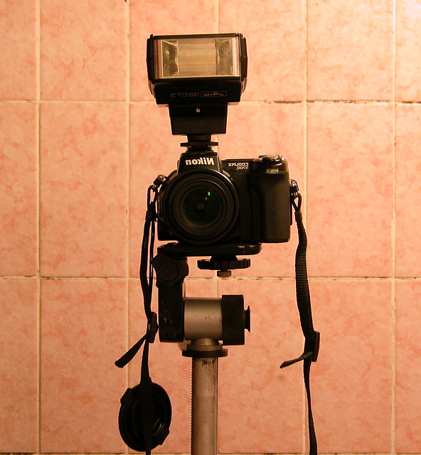 My camera with flash and tripod