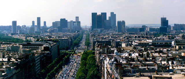 A view of Paris' commercial district from the Arc de Triomphe