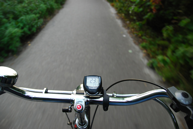 My bike ride home: travelling at 23.1 km/h