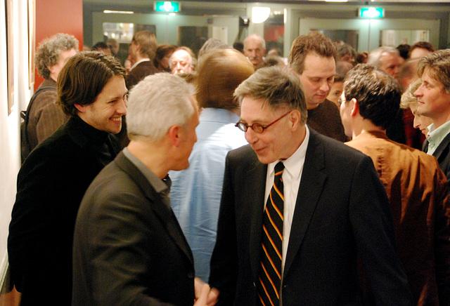 A Karel van het Reve evening: Dutch writer Maarten Biesheuvel (right) talking with Leiden antiquarian Piet van Winden