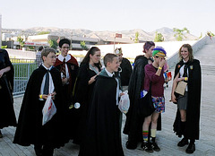 crowd of Hogwarts students