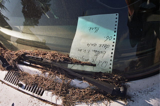 Note in the abandoned VW Beetle Cabriolet