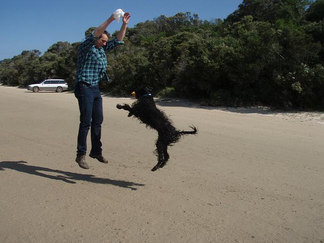 Ad & Fonzie jumping