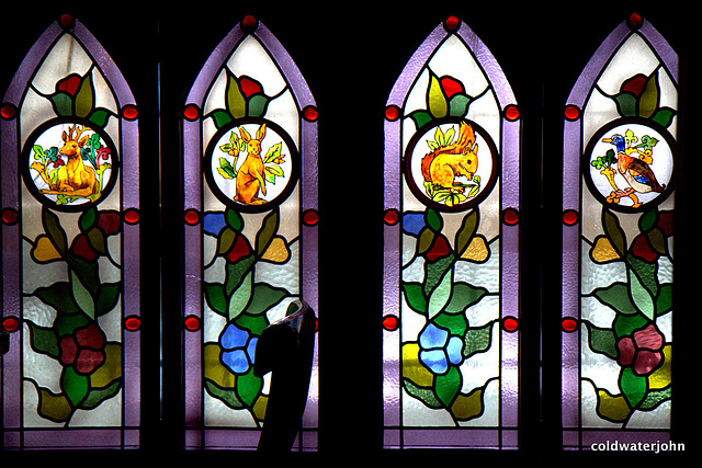 Stained glass in medieval tavern