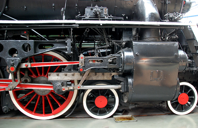 A visit to the National Railway Museum in York: steam cylinder of the 607