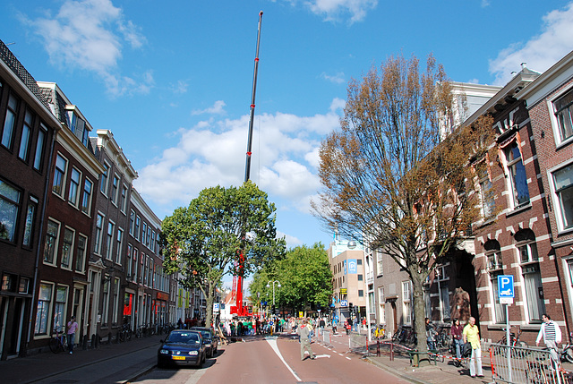 No cars were allowed into the centre of Leiden today