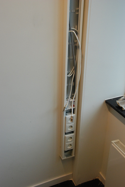 My new office: hastely installed electricity and data cables