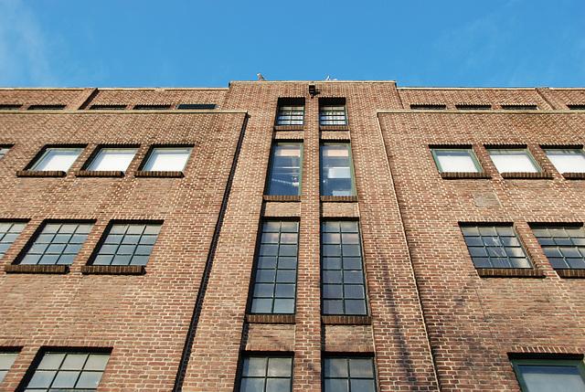 Mysterious brownstone building on the Herengracht (Gentlemen's Canal) in Leiden