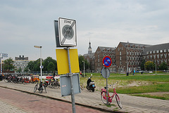 Free parking zone for bicycles for about a meter.
