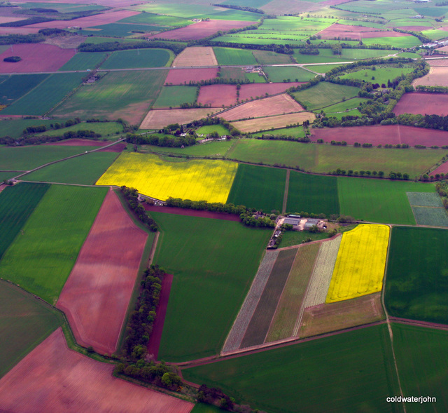 Nature's Palette. Fields north of Dundee near Montrose, from 1,500 feet AGL on flight from Dundee to RAF Kinloss