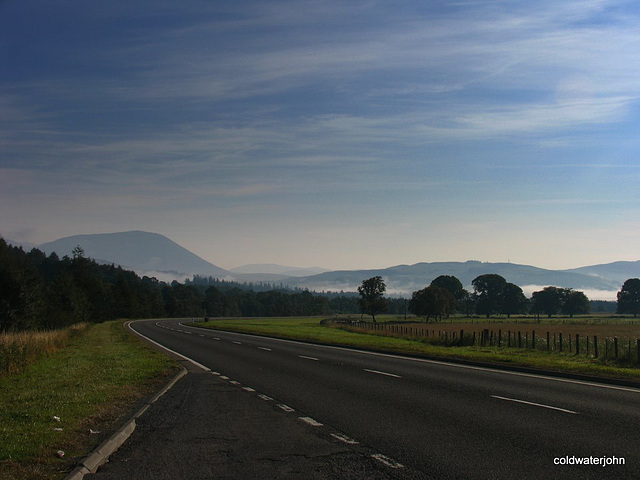 Mist approaching Blair Atholl on the A9 just after dawn