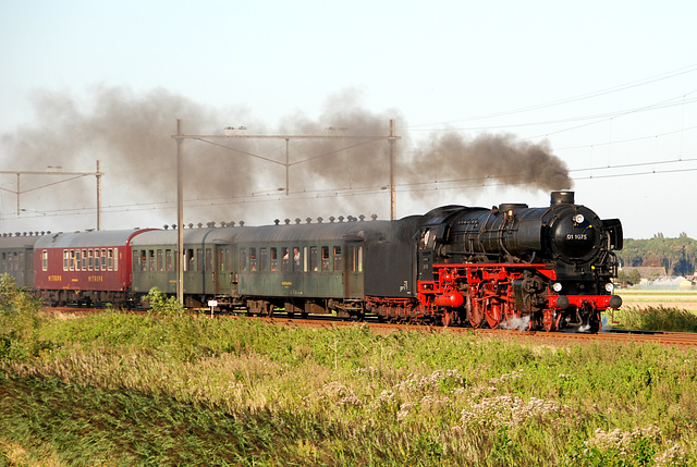 Celebration of the centenary of Haarlem Railway Station: train pulled by steam engine 01 1075
