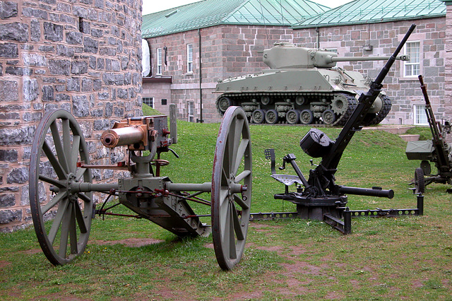 Old guns and tank in the citadel in Quebec City