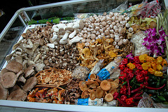 Mushrooms and assorted vegetables in Montreal, Quebec