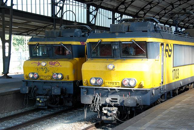 Celebration of the centenary of Haarlem Railway Station: Engines 1701 and 1703 enjoying a break