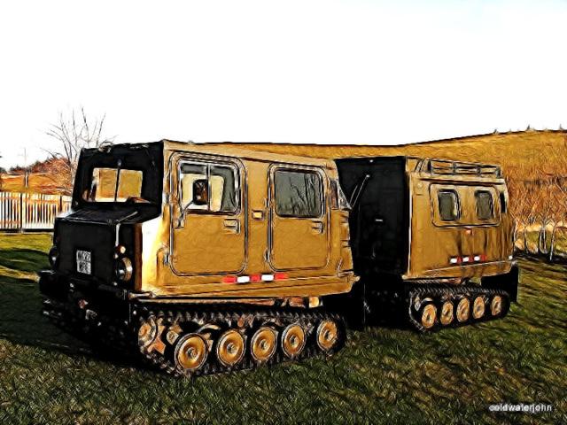 BV 206 in the barnyard