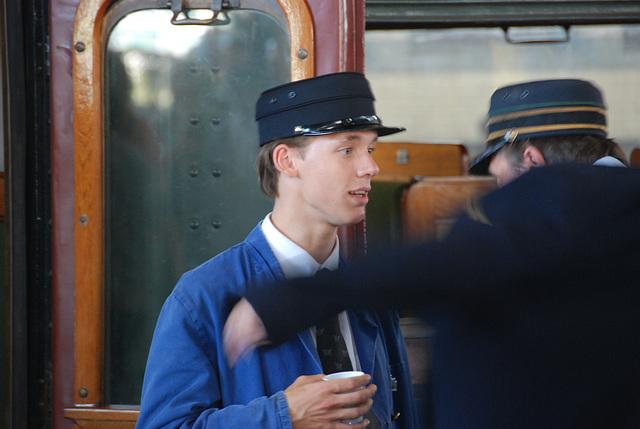 Celebration of the centenary of Haarlem Railway Station: train guard