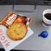 Train journey to London: Snack and coffee in the train