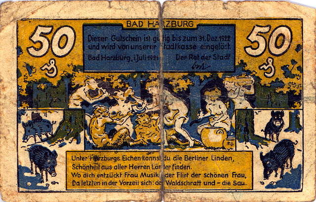 Old German money: 50 pfennig bank note from Bad Harzburg, valid until December 31, 1922