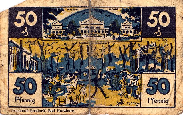 Old German money: 50 pfennig bank note from Bad Harzburg, valid until December 31, 1922
