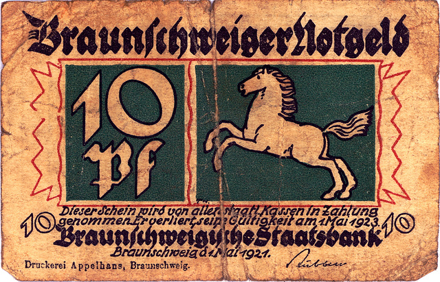 Old German money: Emergency money from Brunswick: 10 pfennig from 1921, valid until May 1, 1923