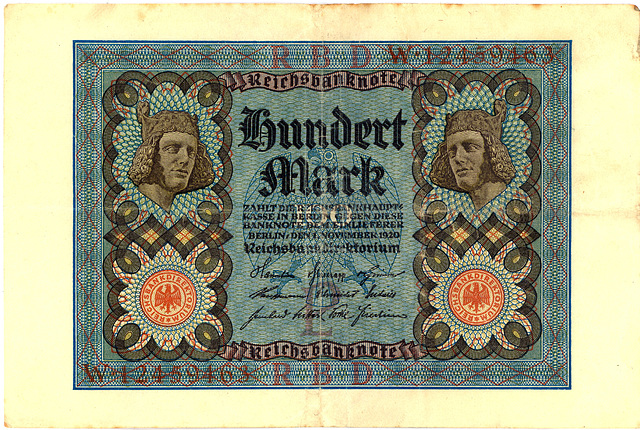 Old German money: 100 Mark from 1920