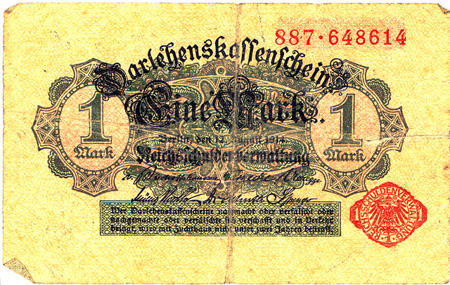 Old German money: Cash notes from the First World War