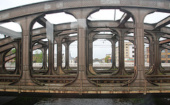 Train journey to London: Iron train bridge at Mechelen