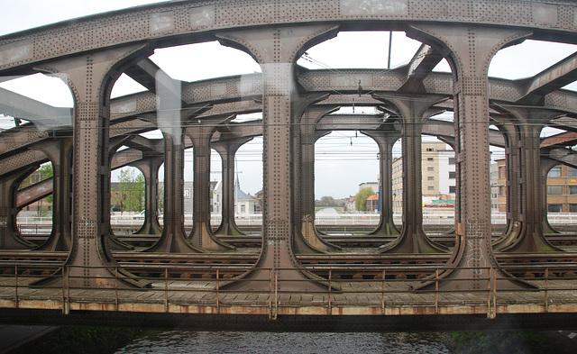 Train journey to London: Iron train bridge at Mechelen