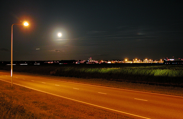Road and full Moon